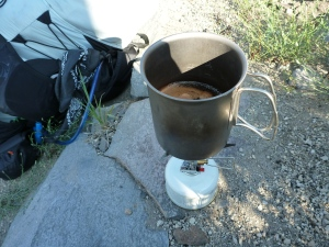 Cowboy coffee on the canister stove